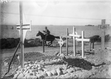 A photo of a dispatch rider, galloping near Anzac Cove